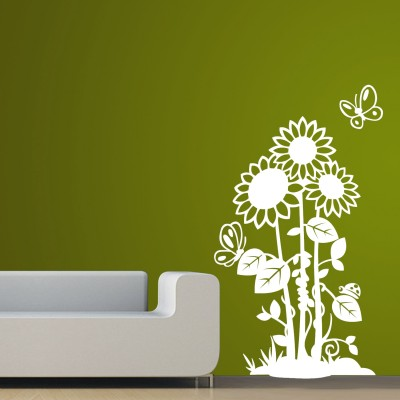 Blooming Flowers 1 Wall Sticker Decal-Small-White