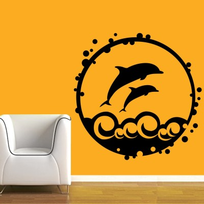 Dolphin N Waves Wall Sticker Decal-Small-Black