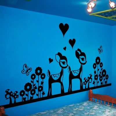 Cute Deers In Garden Wall Sticker Decal-Small-Black