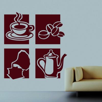 Tea Coffee Wall Sticker Decal-Small-Burgundy