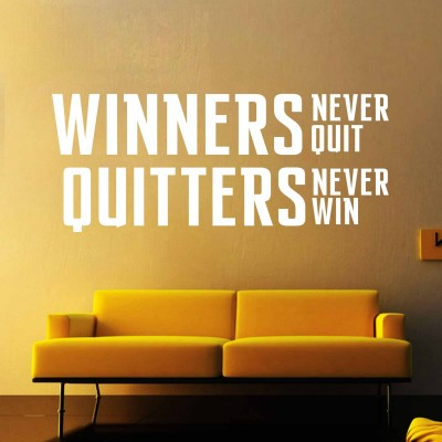 Winners Never Quit Quote Wall Sticker Decal-Small-White