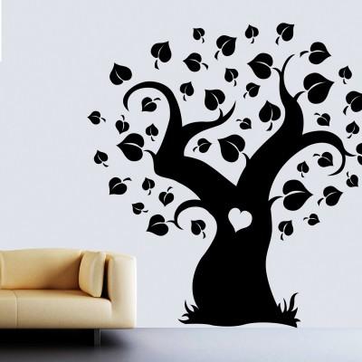Spade Tree Wall Sticker Decal-Small-Black
