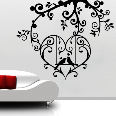 Birds In Love Wall Sticker Decal-Small-Black
