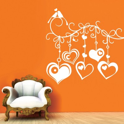 Hanging Hearts Wall Sticker Decal-Small-White