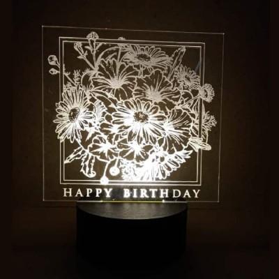 3D LED Happy Birthday Flowers Lamp