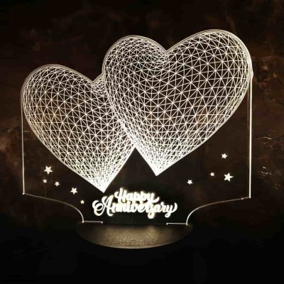 3D LED Anniversary Hearts Lamp