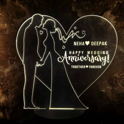 3D LED Personalized Happy Anniversary Couple Name Lamp