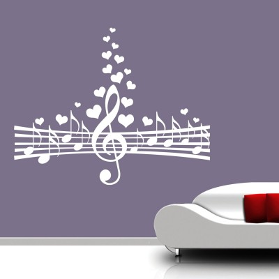 Love for Music Wall Sticker Decal-Small-White