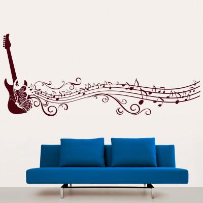 Guitar Strings N Swirls Wall Sticker Decal-Small-Burgundy