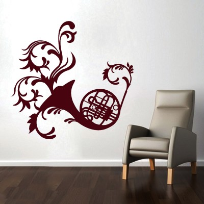 French Horn Wall Sticker Decal-Small-Burgundy