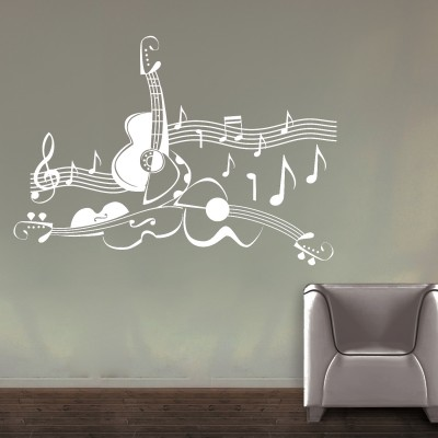Love For Guitar Wall Sticker Decal-Small-White
