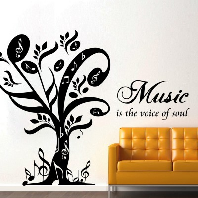 Music Is The Voice Of Soul Wall Sticker Decal-Small-Black