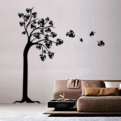 Autumn Tree Wall Sticker Decal-Small-Black