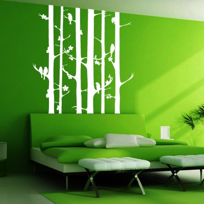 Birds On Tree Wall Sticker Decal-Small-White