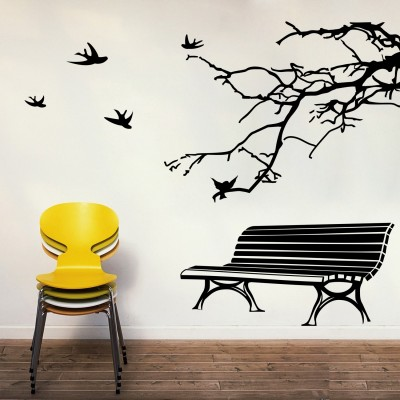 Bench And Branch Wall Sticker Decal-Small-Black