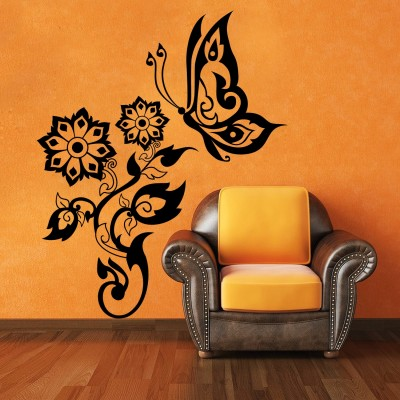Butterfly On Flowers 1 Wall Sticker Decal-Small-Black