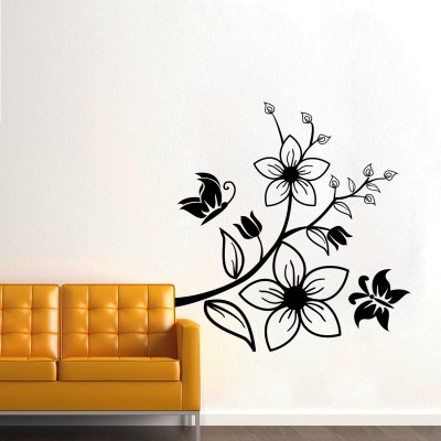 Butterfly On Flowers 2 Wall Sticker Decal-Small-Black