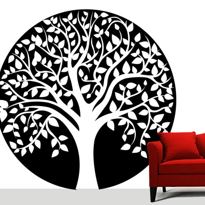 Speaking Tree Wall Sticker Decal-Small-Black