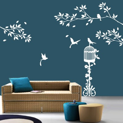 Birds Paradise Wall Sticker Decal-Small-White