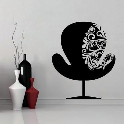 Chair With Swirls Wall Sticker Decal-Medium-Black