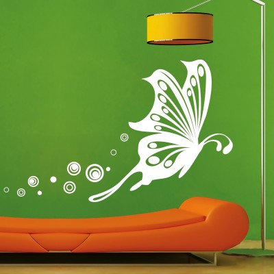 Butterfly Flight Wall Sticker Decal-Small-White