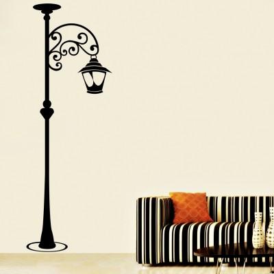 Lamp Post Wall Sticker Decal-Medium-Black