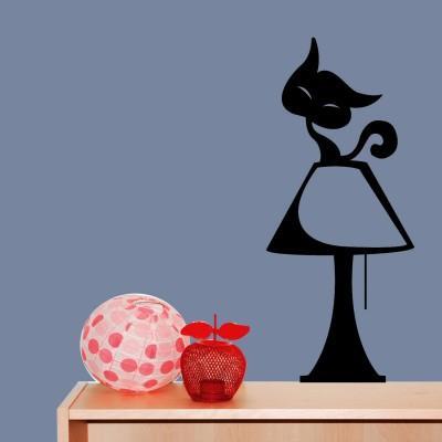 Cat On Lamp Wall Sticker Decal-Medium-Black