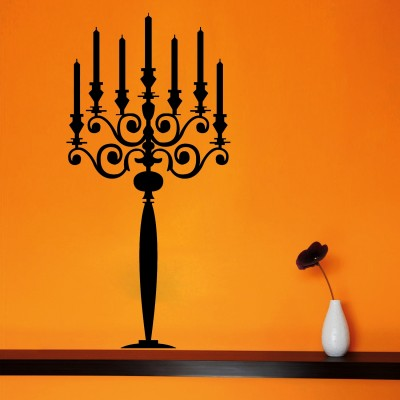 Candle Stand Wall Sticker Decal-Medium-Black