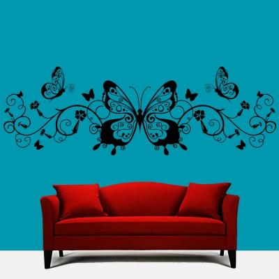 Butterflies N Swirls Wall Sticker Decal-Medium-Black