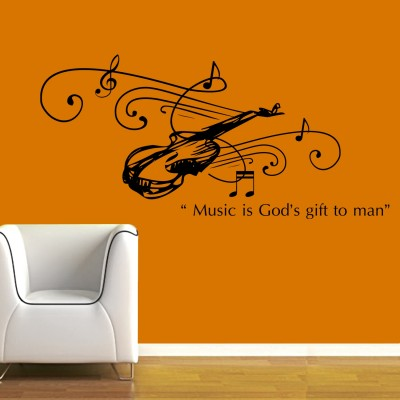 Music Is Gift Wall Sticker Decal-Small-Black
