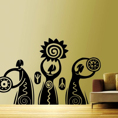 Dancing Tribals Wall Sticker Decal-Medium-Black