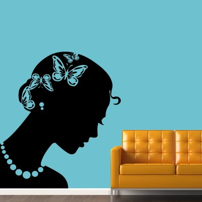 Beautiful Lady Wall Sticker Decal-Small-Black