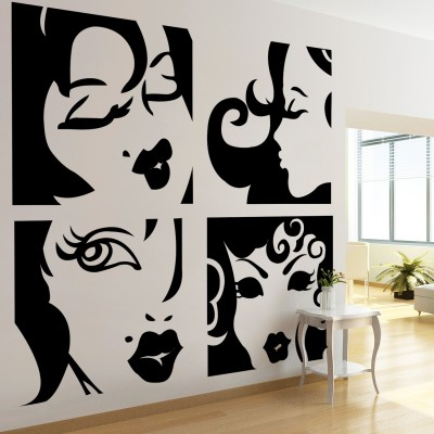 Ladies Wall Sticker Decal-Small-Black