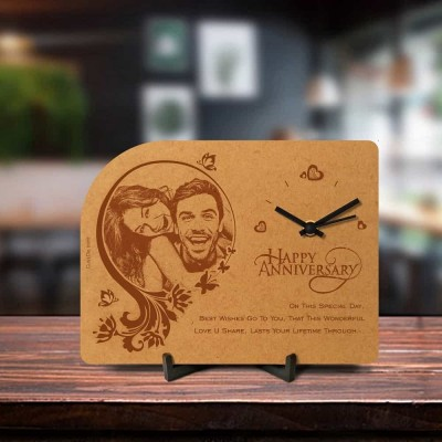 Personalized Anniversary Engraved Table Clock Style 1