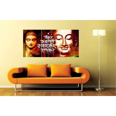 Buddha in Meditation Set of 3 Self Adhesive Wall Panels
