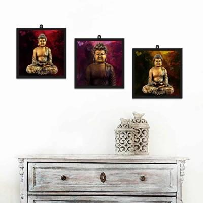Buddha Meditating Set Of 3 Wall Art Panels