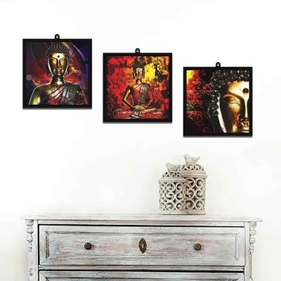 Buddha In Thoughts Set Of 3 Wall Art Panels