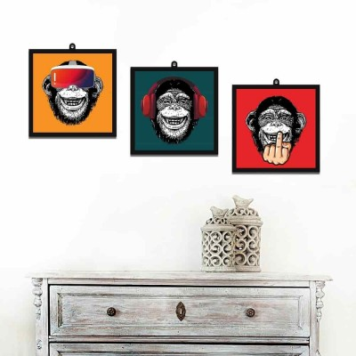 3 Modern Monkeys Set Of 3 Wall Art Panels