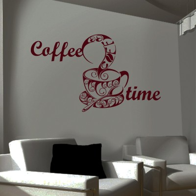 Coffee Time Wall Sticker Decal-Small-Burgundy