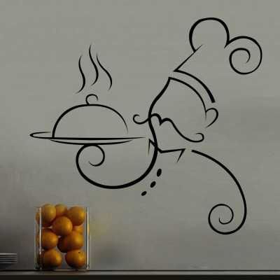 Chef At Work Wall Sticker Decal-Small-Black