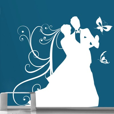 Dancing Couple 1 Wall Sticker Decal-Small-White