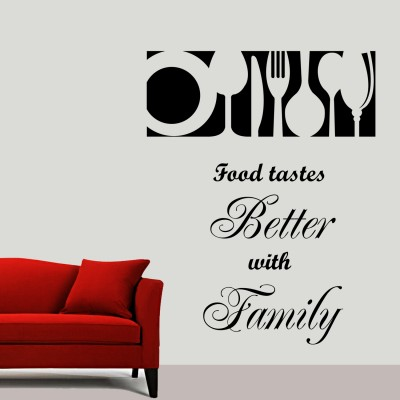 Food With Family Wall Sticker Decal-Small-Black
