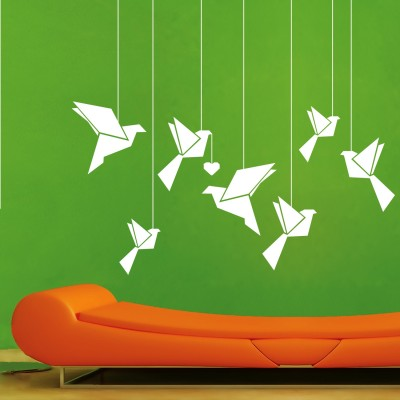 Hanging Birds Wall Sticker Decal-Small-White
