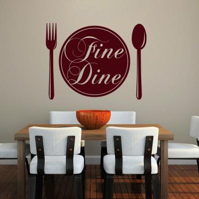 Fine Dine Wall Sticker Decal-Small-Burgundy