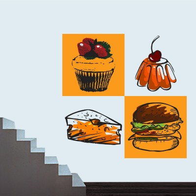Burger With Cheeze Pie Wall Sticker Decal-Small