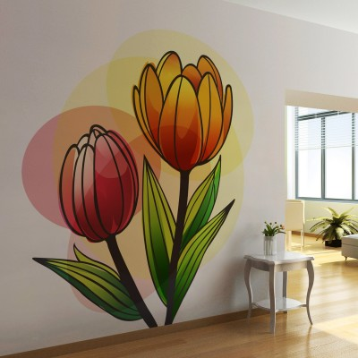 Beautiful Tulips Colored Wall Sticker Decal-Small