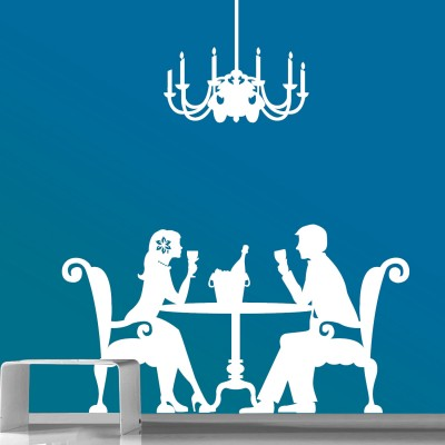Romantic Dinner Wall Sticker Decal-Small-White