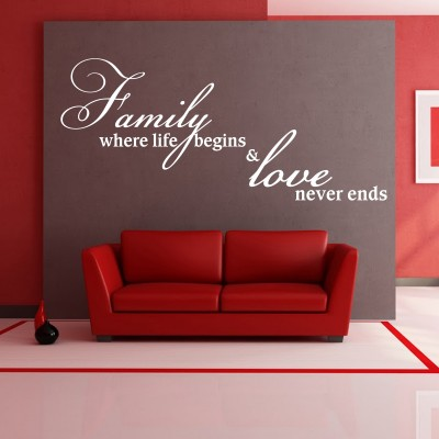 Family And Love Wall Sticker Decal-Small-White