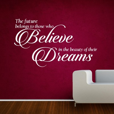 Believe In Your Dreams Two Wall Sticker Decal 2-Small-White