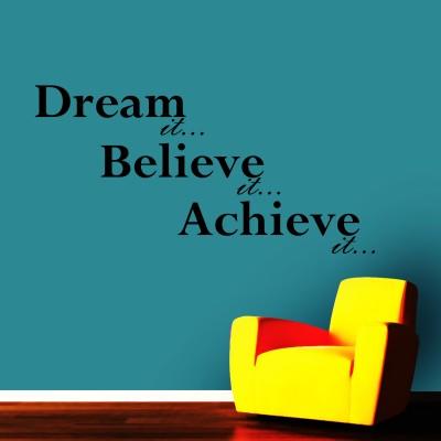 Dream It Believe It Three Wall Sticker Decal 3-Small-Black